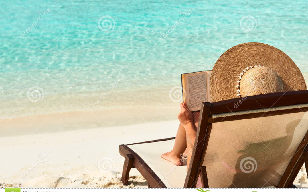reading on beach